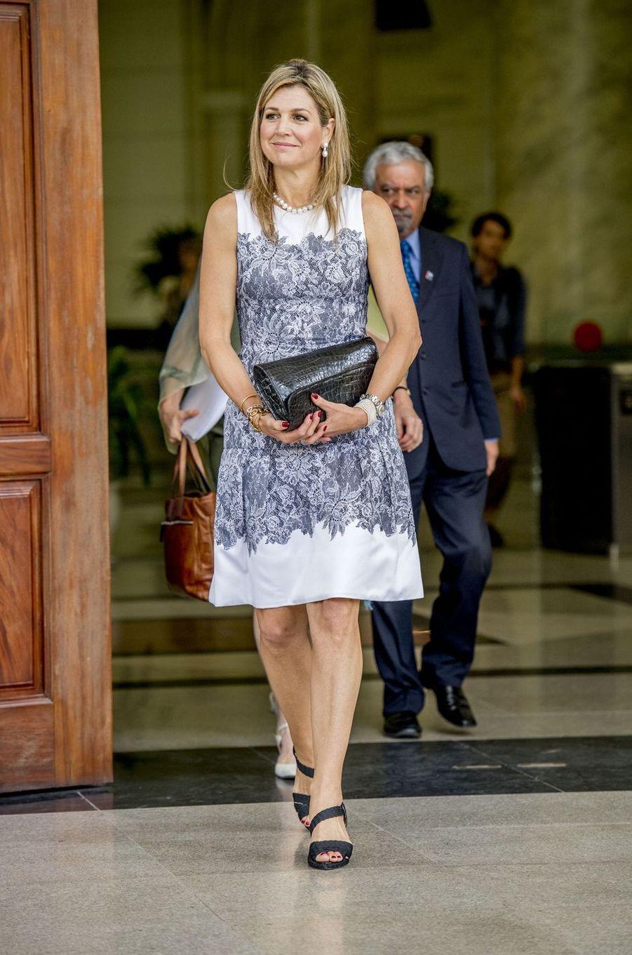 La reine Maxima des Pays-Bas dans une robe Natan à Hanoï, le 1er juin 2017