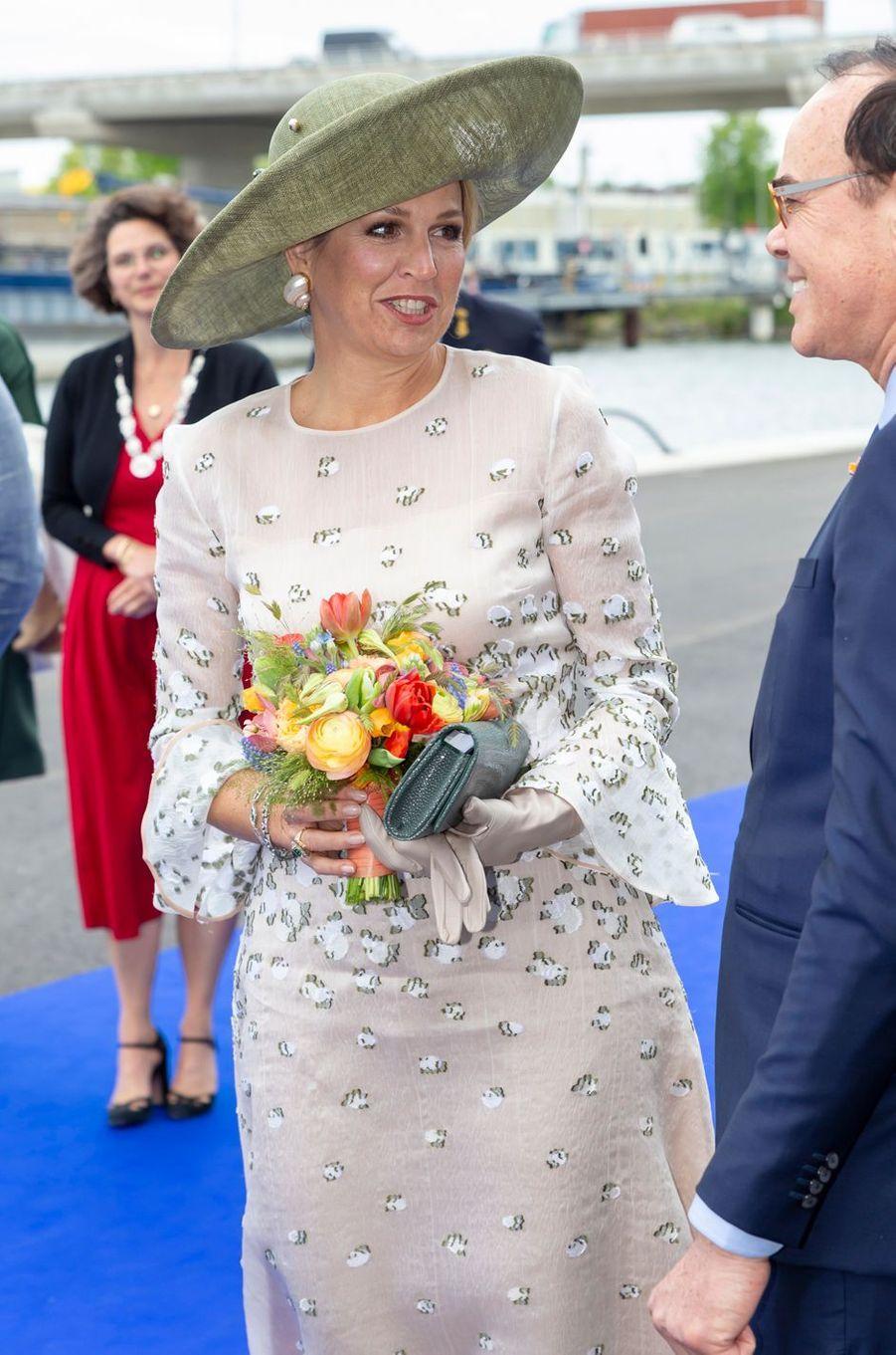 La reine Maxima des Pays-Bas sur le port d'Amsterdam, le 16 mai 2019