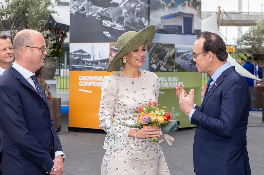La reine Maxima des Pays-Bas, le 16 mai 2019 sur le port d'Amsterdam