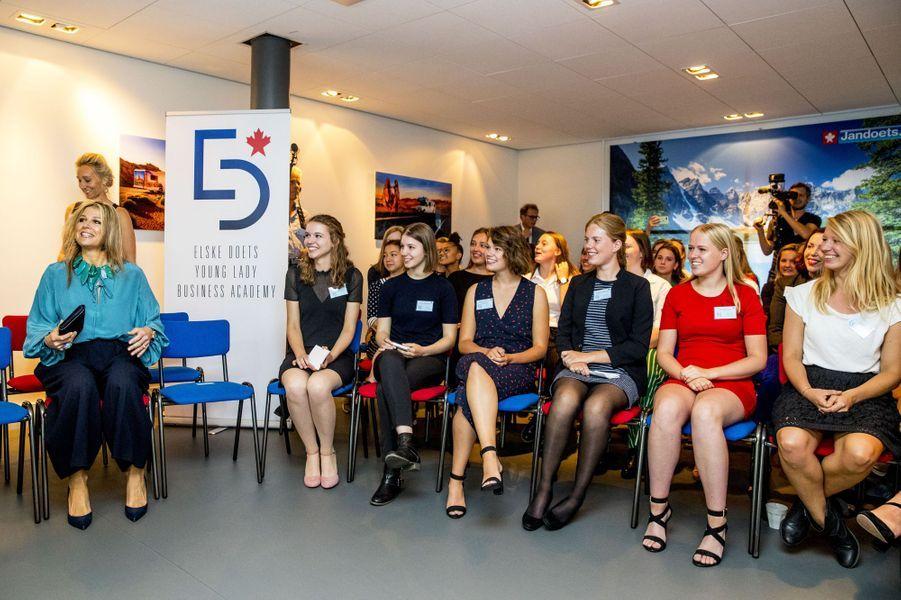 La reine Maxima des Pays-Bas à la Young Lady Business Academy à Heerhugowaard, le 12 juillet 2018