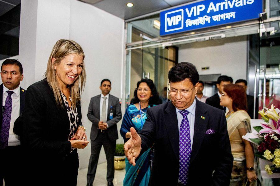 La reine Maxima des Pays-Bas à son arrivée à Dhaka au Bangladesh, le 9 juillet 2019