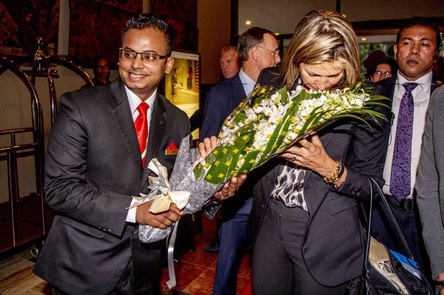La reine Maxima des Pays-Bas à son arrivée à Dhaka, le 9 juillet 2019