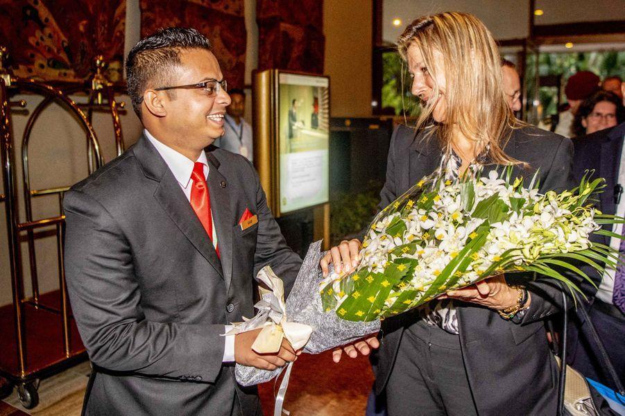 La reine Maxima des Pays-Bas à son arrivée au Bangladesh, le 9 juillet 2019