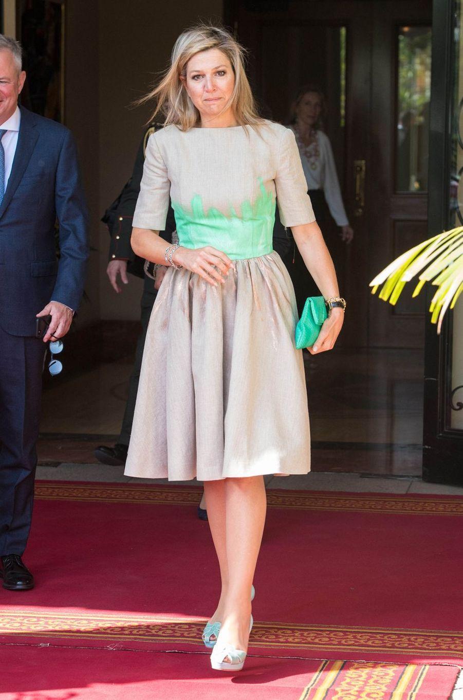 La reine Maxima des Pays-Bas dans une robe Mattijs van Bergen à Addis-Abeba en Ethiopie, le 15 mai 2019