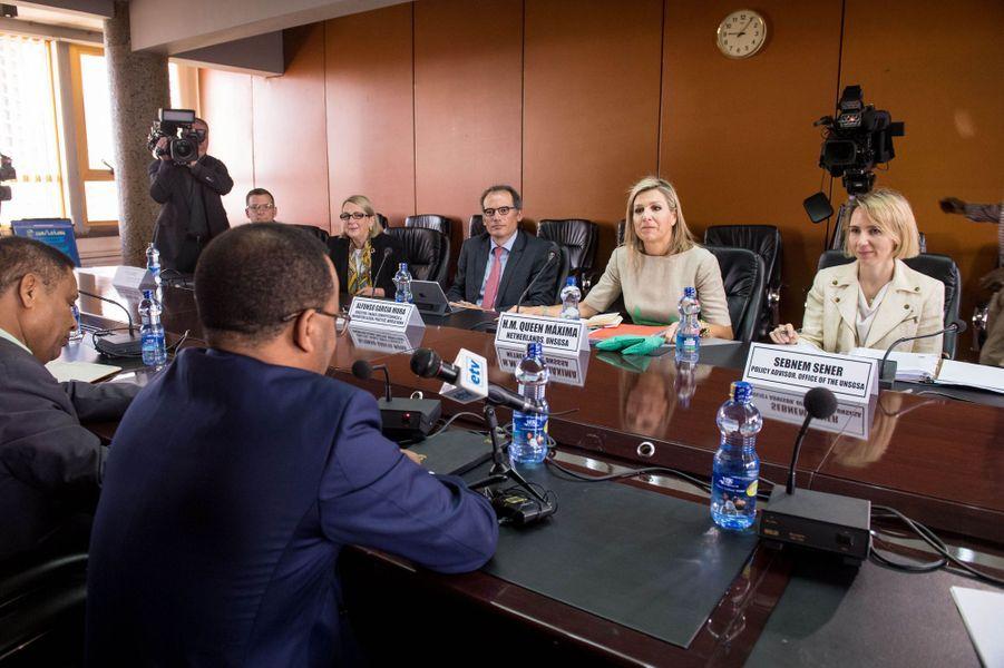 La reine Maxima des Pays-Bas en réunion à Addis-Abeba, le 15 mai 2019