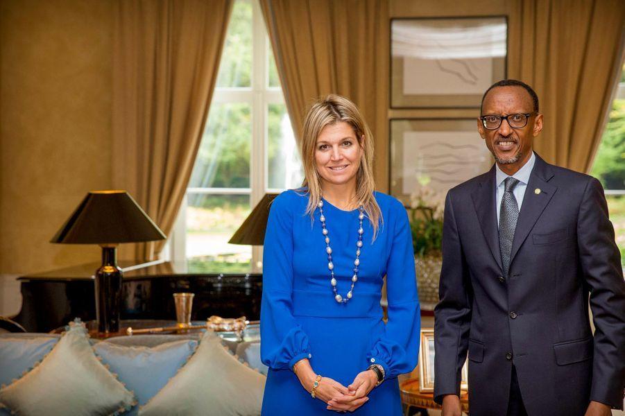 La reine Maxima des Pays-Bas avec le président du Rwanda Paul Kagame à Wassenaar, le 5 octobre 2015