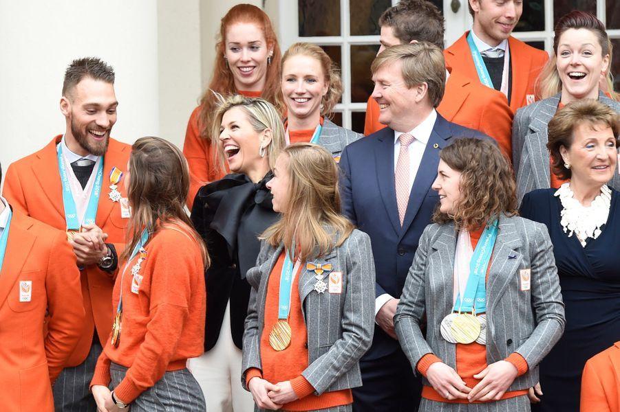 La reine Maxima, le roi Willem-Alexander et la princesse Margriet des Pays-Bas à La Haye, le 23 mars 2018