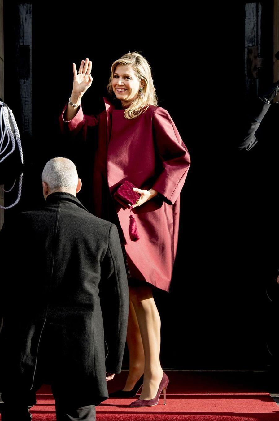 La reine Maxima des Pays-Bas à Amsterdam, le 16 janvier 2018