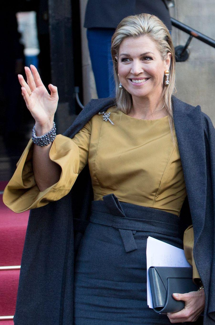 La reine Maxima des Pays-Bas fait sa rentrée 2017 à Amsterdam, le 17 janvier 2017