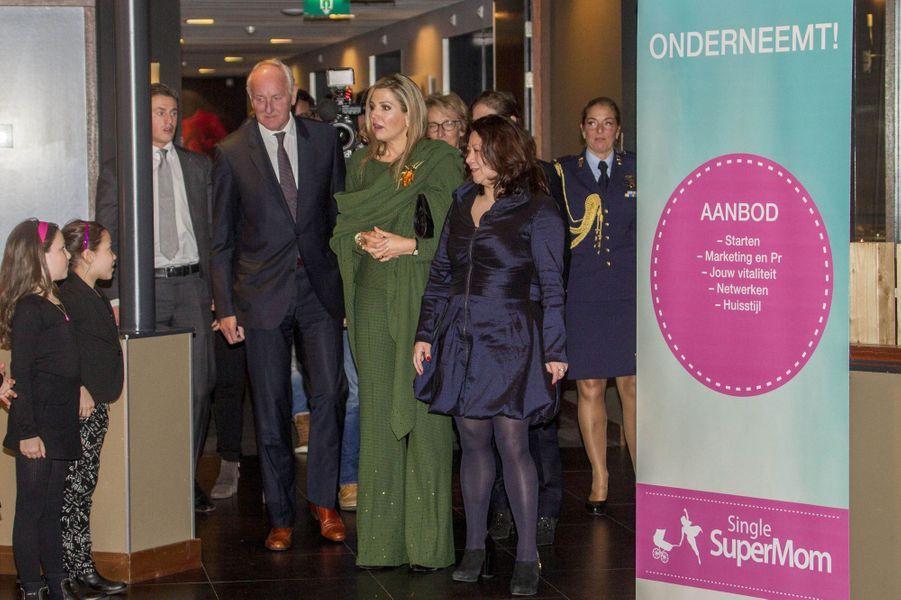 La reine Maxima des Pays-Bas vient lancer une formation à Amsterdam, le 8 mars 2017