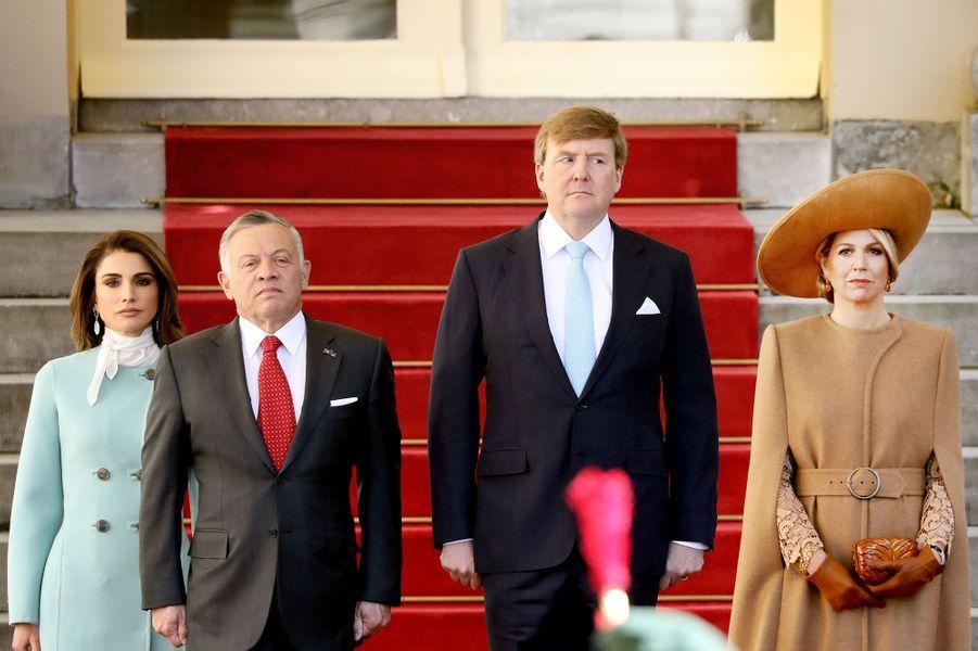 Les couples royaux des Pays-Bas et de Jordanie à La Haye, le 20 mars 2018