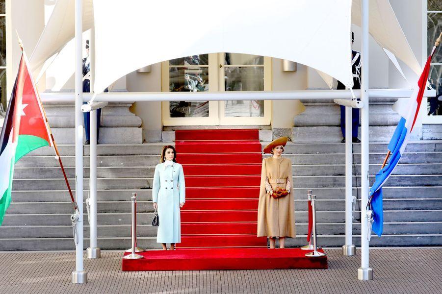 La reine Rania de Jordanie et la reine Maxima des Pays-Bas à La Haye, le 20 mars 2018