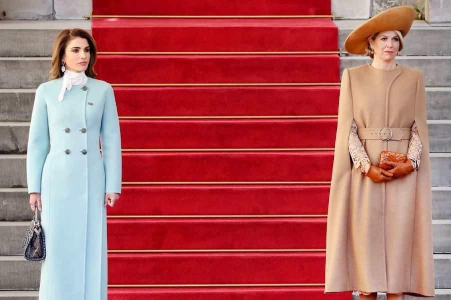 Les reines Rania de Jordanie et Maxima des Pays-Bas à La Haye, le 20 mars 2018
