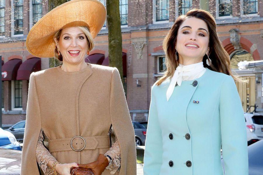 La reine Maxima des Pays-Bas et la reine Rania de Jordanie à La Haye, le 20 mars 2018