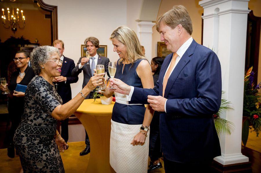 La reine Maxima et le roi Willem-Alexander des Pays-Bas à Willemstad sur l'île de Curaçao, le 1er juillet 2018