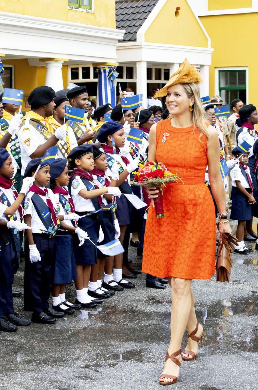La reine Maxima des Pays-Bas à Willemstad sur l'île de Curaçao, le 1er juillet 2018