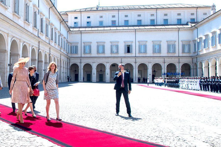 La reine Maxima des Pays-Bas avec Laura Mattarella à Rome, le 20 juin 2017
