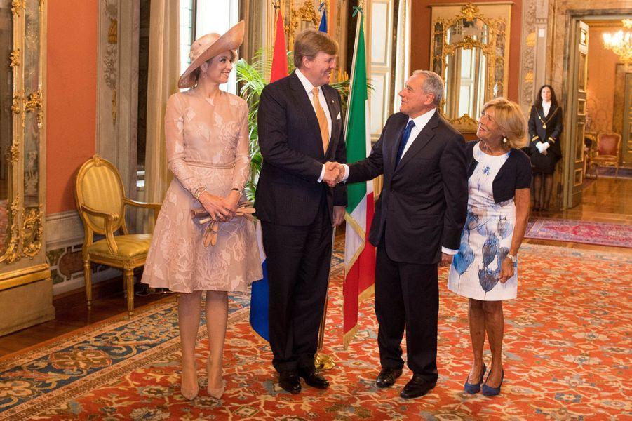 La reine Maxima et le roi Willem-Alexander des Pays-Bas avec le président du Sénat Pietro Grasso et sa femme à Rome, le 20 juin 2017