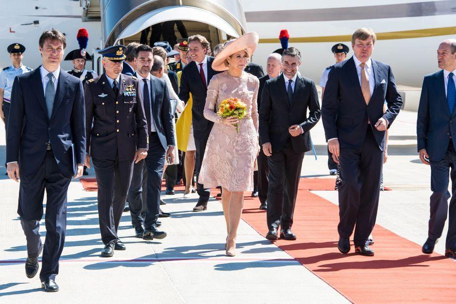 La reine Maxima et le roi Willem-Alexander des Pays-Bas arrivent à Rome, le 20 juin 2017