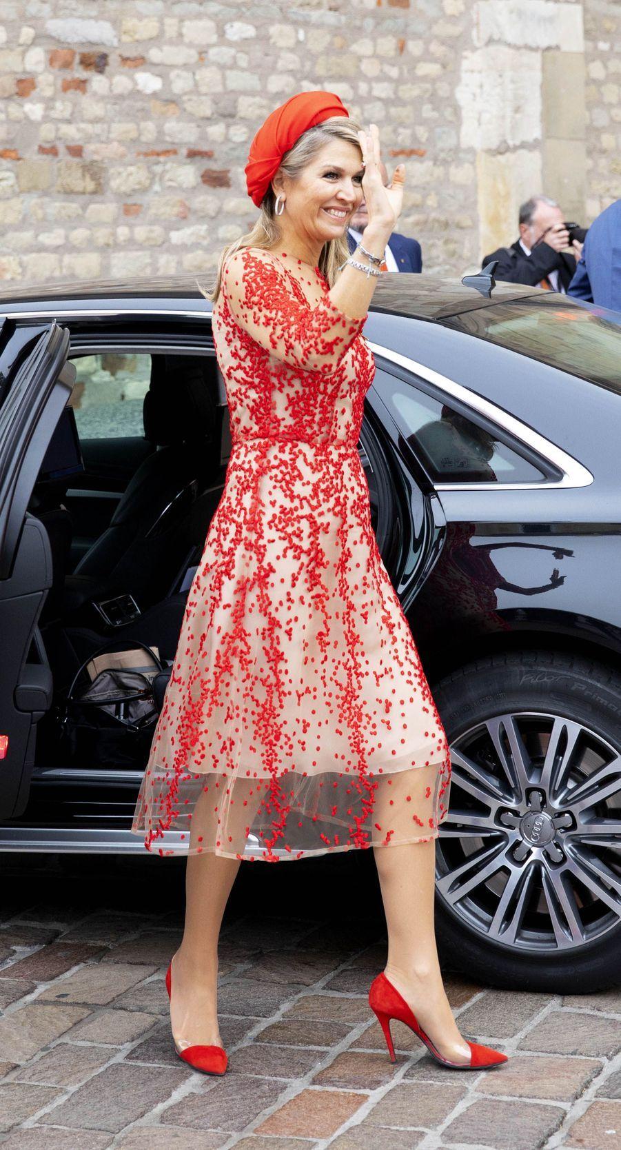 La reine Maxima des Pays-Bas, dans une robe Natan, à Trèves le 11 octobre 2018