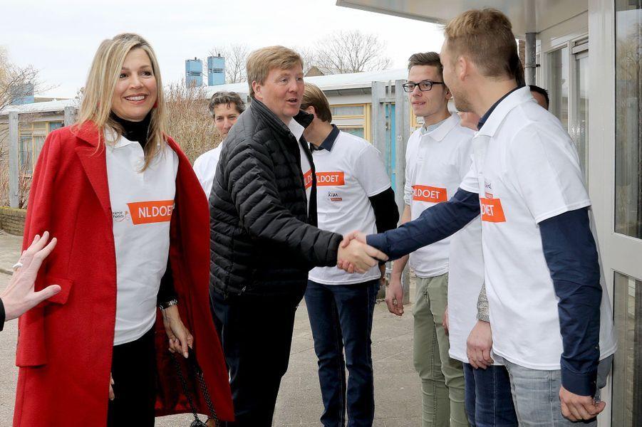 La reine Maxima et le roi Willem-Alexander des Pays-Bas à Pijnacker, le 10 mars 2018