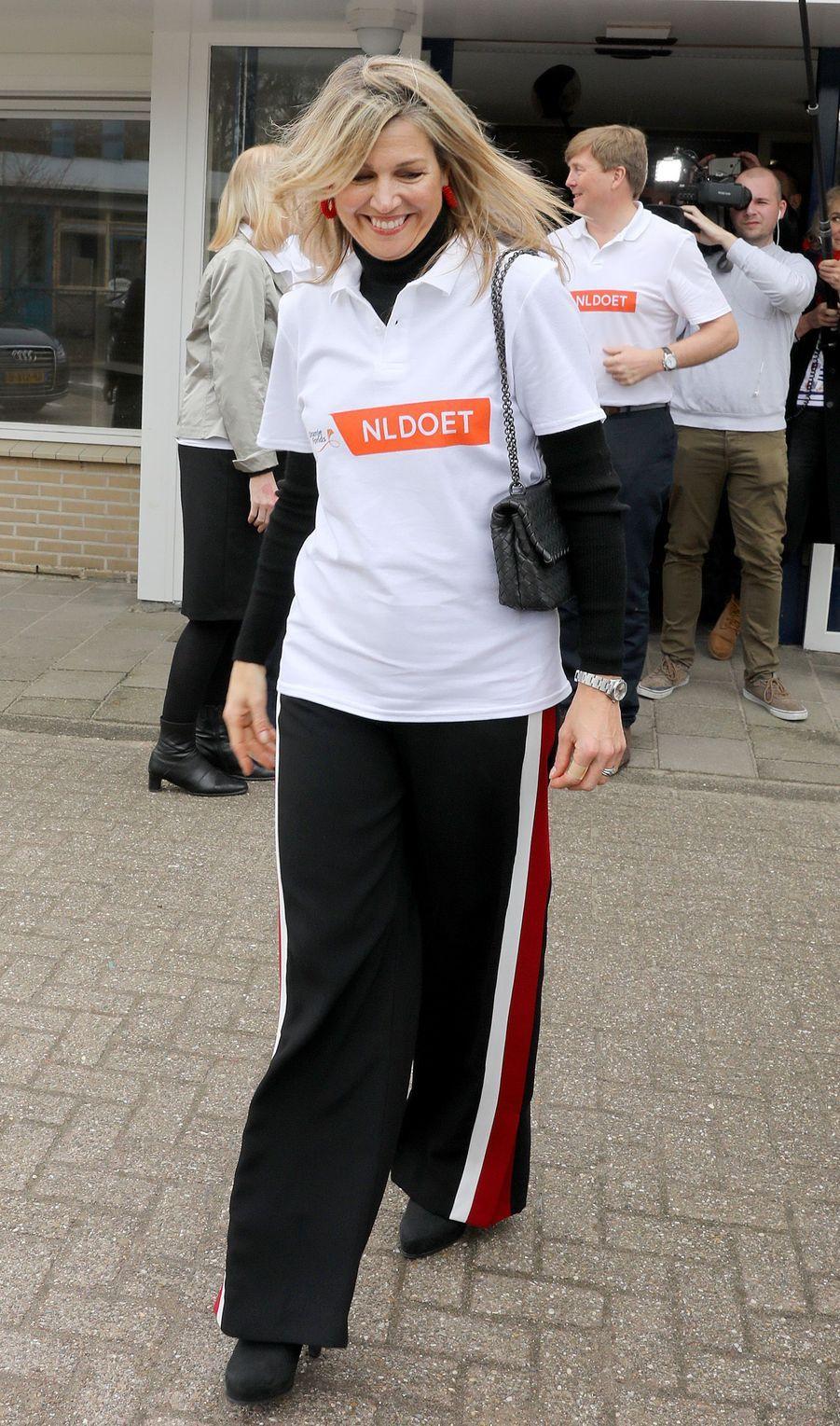 La reine Maxima des Pays-Bas à Pijnacker, le 10 mars 2018