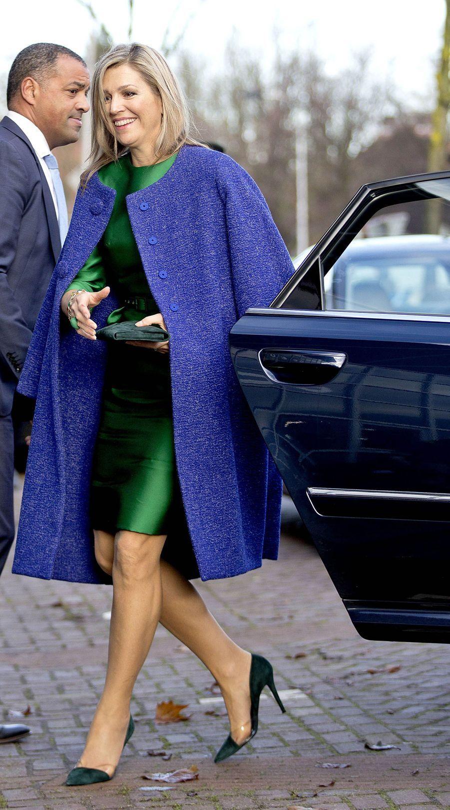 La reine Maxima des Pays-Bas à son arrivée à Delft, le 17 novembre 2017
