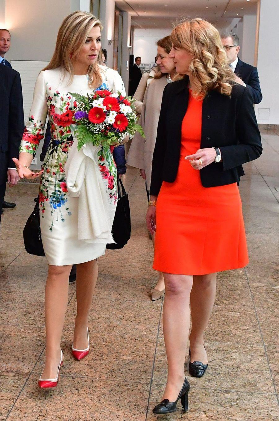 La reine Maxima des Pays-Bas dans une robe Natan à Berlin, le 25 avril 2017