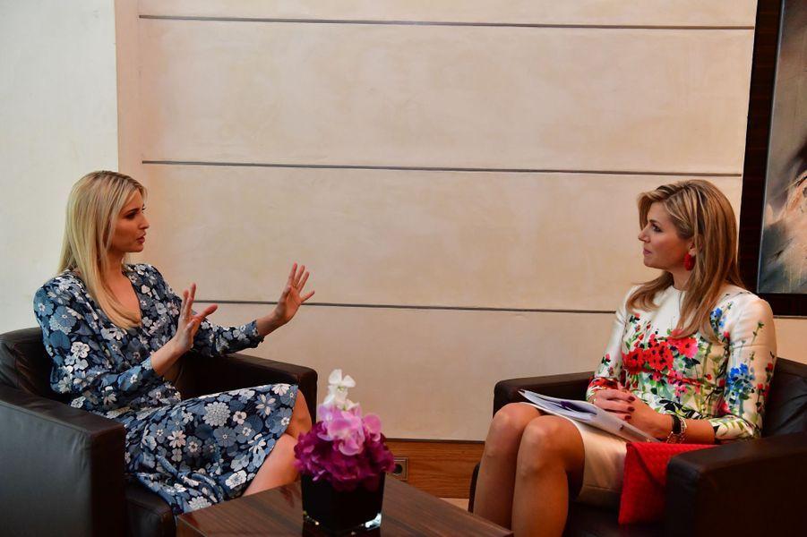 La reine Maxima des Pays-Bas avec Ivanka Trump à Berlin, le 25 avril 2017