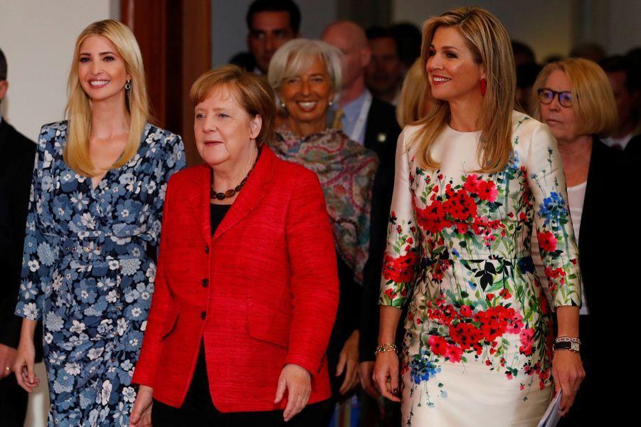 La reine Maxima des Pays-Bas avec Ivanka Trump et Angela Merkel à Berlin, le 25 avril 2017