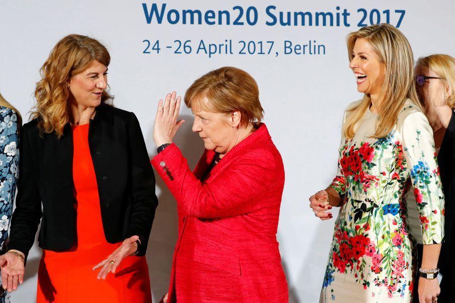 La reine Maxima des Pays-Bas avec Angela Merkel à Berlin, le 25 avril 2017