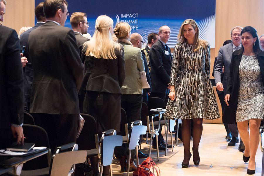 La reine Maxima des Pays-Bas à un sommet financier à La Haye, le 21 mars 2017