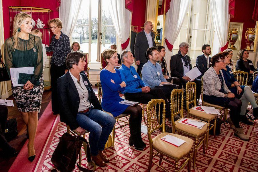 La reine Maxima des Pays-Bas à un symposium sur l'éducation musicale à La Haye, le 22 mars 2017