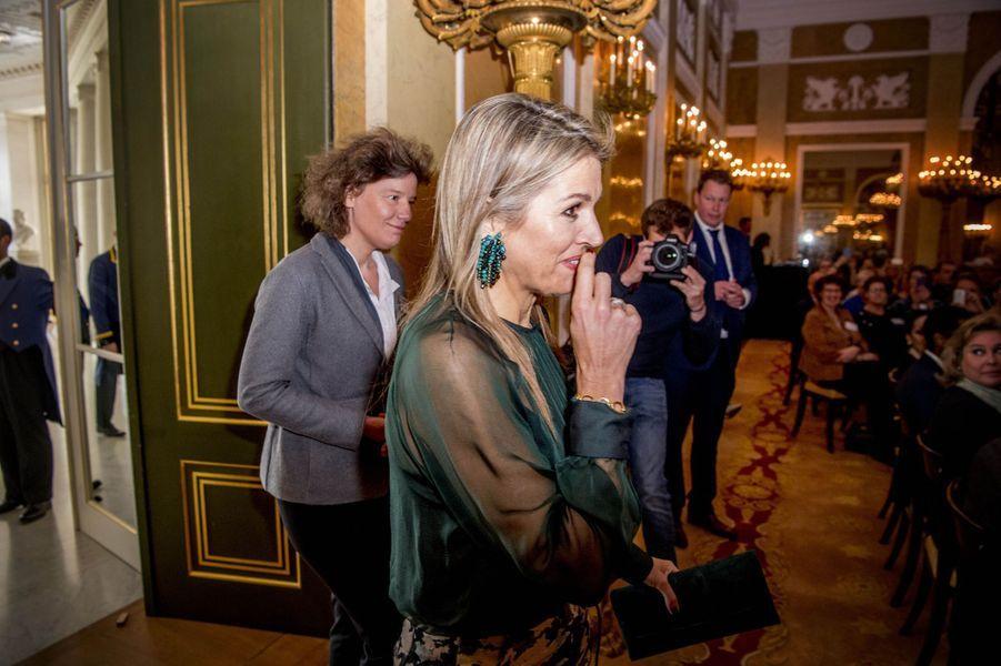La reine Maxima des Pays-Bas dans le Palais Noordeinde à La Haye, le 22 mars 2017