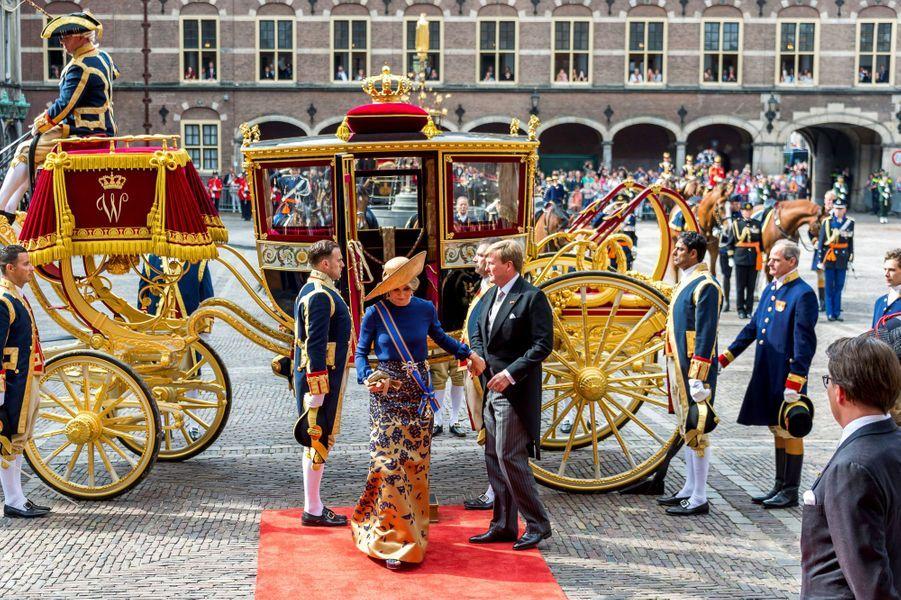 La reine Maxima et le roi Willem-Alexander des Pays-Bas à La Haye, le 20 septembre 2016