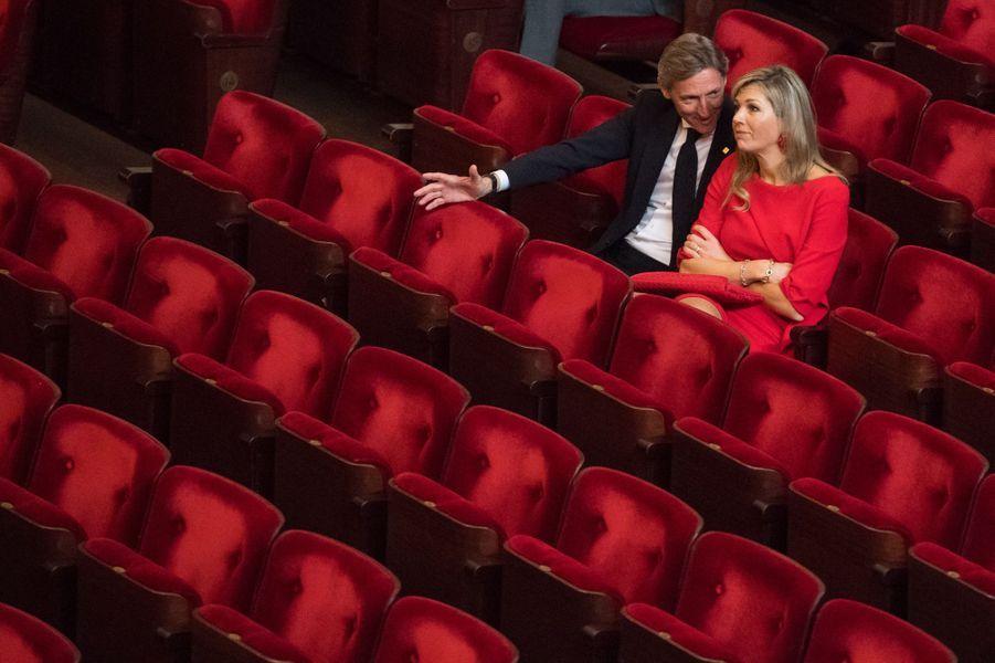 La reine Maxima des Pays-Bas au Concertgebouw à Amsterdam, le 10 avril 2018