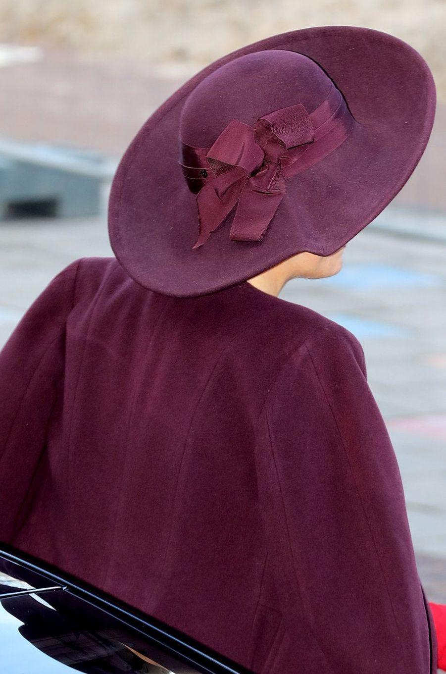 Le chapeau de la reine Maxima des Pays-Bas à Amsterdam, le 5 février 2018