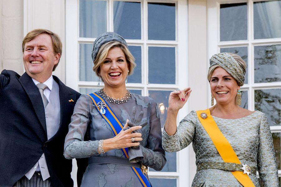 La reine Maxima, le roi Willem-Alexander des Pays-Bas et la princesse Laurentien à La Haye, le 19 septembre 2017