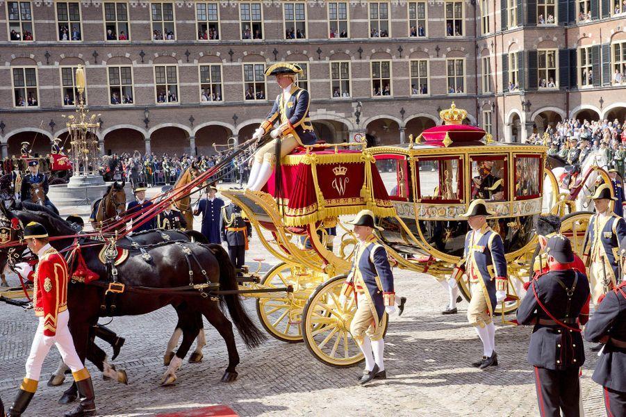 Le carrosse de la reine Maxima et du roi Willem-Alexander des Pays-Bas à La Haye, le 19 septembre 2017