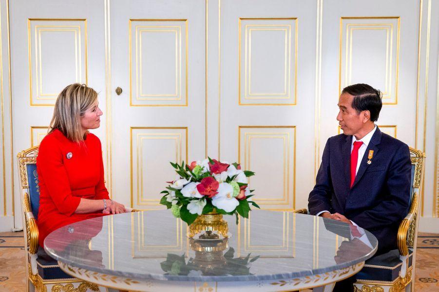 La reine Maxima des Pays-Bas avec le président indonésien à La Haye, le 22 avril 2016