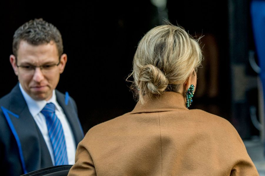 Détail de la coiffure de la reine Maxima des Pays-Bas à Amsterdam, le 28 novembre 2017