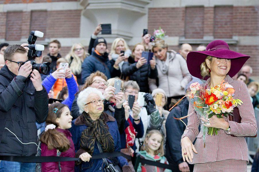 La reine Maxima des Pays-Bas à Arnhem, le 12 janvier 2018
