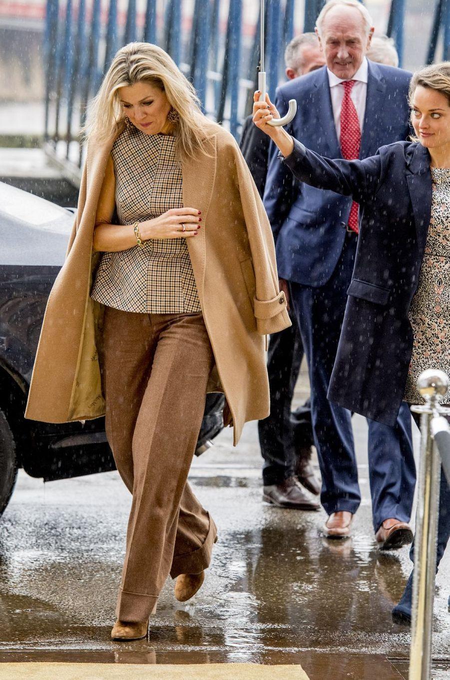 La reine Maxima des Pays-Bas à Halfweg, le 28 mars 2018