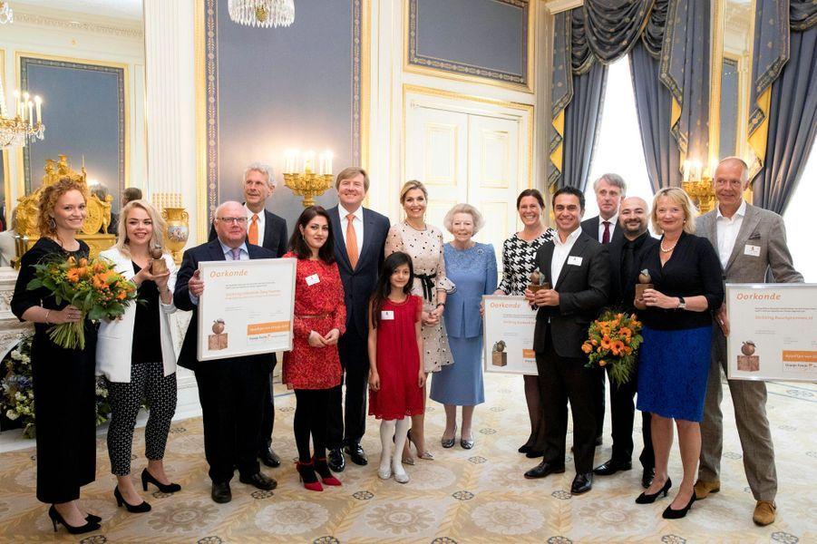 La reine Maxima, le roi Willem-Alexander et la princesse Beatrix des Pays-Bas à La Haye, le 18 mai 2017