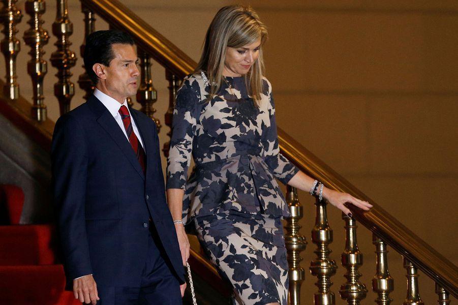 La reine Maxima des Pays-Bas avec Enrique Pena Nieto à Mexico, le 21 juin 2016