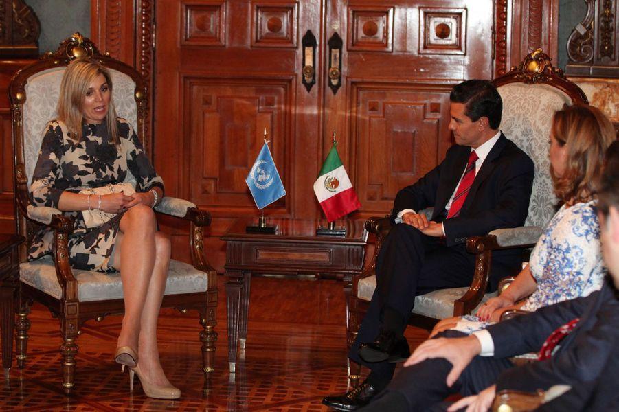 La reine Maxima des Pays-Bas avec Enrique Pena Nieto et Claudia Ruiz Massieu à Mexico, le 21 juin 2016