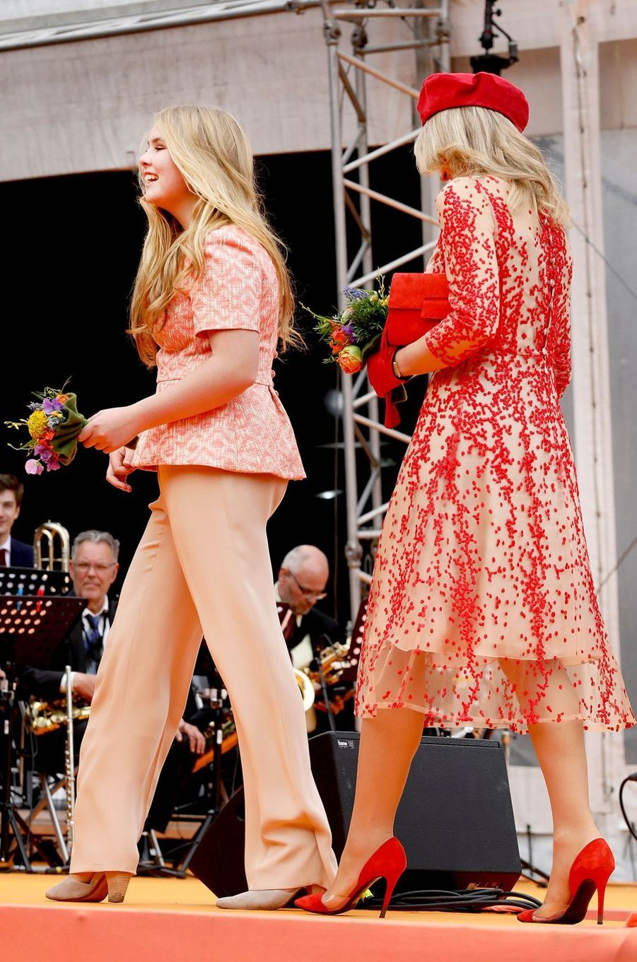 La princesse Catharina-Amalia et la reine Maxima des Pays-Bas, à Groningen le 27 avril 2018