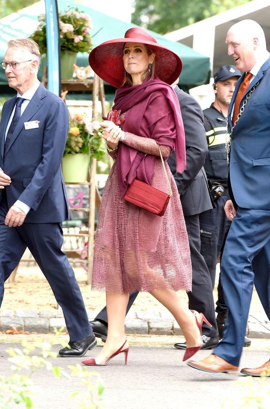 La reine Maxima des Pays-Bas dans une robe Natan à Winschoten, le 13 juin 2017