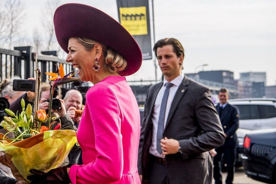 Le chignon de la reine Maxima des Pays-Bas à Amersfoort, le 27 mars 2018