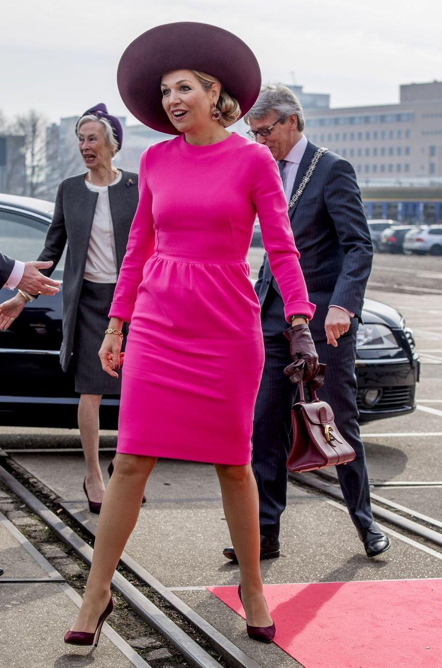 La reine Maxima des Pays-Bas dans une robe Natan à Amersfoort, le 27 mars 2018